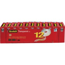 "Scotch® Transparent Tape, 3/4"" x 1000"" - 0.75"" Width x 83.33 ft Length - 1"" Core - Photo-safe, Non-yellowing, Transparent, Glossy - 12 / Pack - Clear"