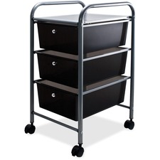 "Advantus 3-Drawer Organizer - 15.5"" x 13"" x 27"" - 3 x Drawer(s) - Locking Casters, Security Lock - Smoke - Metal"