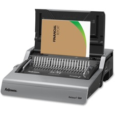 "Fellowes Galaxy-Eâ""¢ 500 Electric Comb Binding Machine w/ Starter Kit - CombBind - 500 Sheet(s) Bind - 28 Punch - Letter - 6.50"" (165.10 mm) x 19.63"" (498.60 mm) x 17.75"" (450.85 mm) - Metallic Silver, Black"