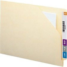 "Smead Antimicrobial End Tab Manila File Jackets - Letter - 8 1/2"" x 11"" Sheet Size - Straight Tab Cut - 11 pt. Folder Thickness - Manila - Manila - Recycled - 100 / Box"