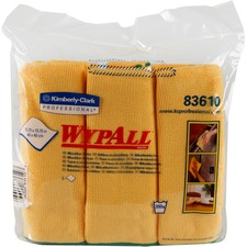 "Wypall Microfiber Cloths - Cloth - 15.75"" (400.05 mm) Width x 15.75"" (400.05 mm) Length - 6 / Pack - Yellow"