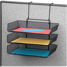 "Fellowes Mesh Partition Additionsâ""¢ Triple Tray - 3 Pocket(s) - 3 Tier(s) - 14.8"" Height x 11.1"" Width x 14"" Depth - Partition-mountable - Recycled - Black - 1 / Each"