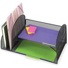"Safco Onyx 2 Upright/2 Tray Mesh Desk Organizer - 7.8"" Height x 10.8"" Width x 17"" Depth - Desktop - Black - 1 Each"