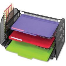 "Safco Onyx 1 Upright/3 Tray Mesh Desk Organizer - 1 Pocket(s) - 8"" Height x 17.3"" Width x 9"" Depth - Desktop - Black"