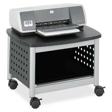 "Safco Scoot Underdesk Printer Stand - 45.36 kg Load Capacity - 14.50"" (368.30 mm) Height x 20.25"" (514.35 mm) Width x 16.50"" (419.10 mm) Depth - Floor - Powder Coated Black - Steel, Particleboard - Black, Silver"