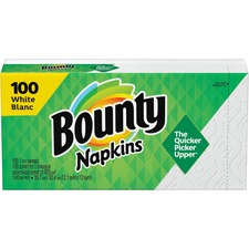 "Bounty Quilted Napkins - 1 Ply - 12.1"" x 12"" - White - Paper - Soft - 100 / Pack"