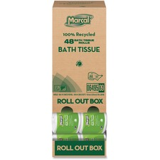 MRC 6495 Marcal Recycled 2-ply Bath Tissue Roll Out Box MRC6495