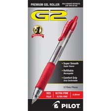 Pilot G2 Ultra Fine Retractable Pens - Ultra Fine Pen Point - 0.38 mm Pen Point Size - Refillable - Retractable - Red Gel-based Ink - Clear Barrel - 12 / Dozen