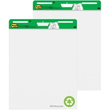 "Post-it® Easel Pad with Recycled Paper - 30 Sheets - Plain - Stapled - 18.50 lb Basis Weight - 25"" x 30"" - 30.50"" (774.70 mm) x 25"" (635 mm) - White Paper - Black Cover - Self-adhesive, Bleed-free, Repositionable, Resist Bleed-through, Removable, Sturdy Back, Cardboard Back - Recycled"