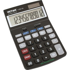 "Victor 11803A Business Calculator - Easy-to-read Display, Auto Power Off - 12 Digits - LCD - Battery/Solar Powered - 1.1"" x 4"" x 6.5"" - Black - Plastic - 1 Each"