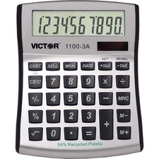 "Victor 11003A Mini Desktop Calculator - Large Display, Angled Display, Dual Power, Antimicrobial, Independent Memory, Environmentally Friendly, Battery Backup - Battery/Solar Powered - Battery Included - 1.1"" x 4.5"" x 5"" x 5"" - White, Blue, Silver - Plast"