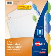 AVE 11200 Avery Style Edge Clear Plastic Insertable Dividers AVE11200