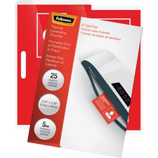 """Fellowes Glossy Pouches - ID Tag not punched, 5 mil, 25 pack - Laminating Pouch/Sheet Size: 3.88"""" Width x 5 mil Thickness - Type G - Glossy - for Document, ID Card - Unpunched, Durable - Clear - 25 / Pack"""