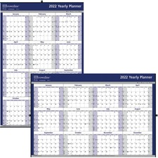 """Brownline 2-Sided Paper Yearly Wall Calendar - Yearly - 1 Year - January 2019 till December 2019 - 1 Year Single Page Layout - 24"""" x 36"""" - Wall Mountable - White, Blue - Paper"""