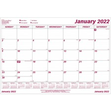 "Brownline Monthly Desk Calendar Refill - Julian - Monthly - 1 Year - January 2019 till December 2019 - 1 Month Single Page Layout - 22"" x 17"" - Wall Mountable, Desk Pad - White - Reference Calendar"