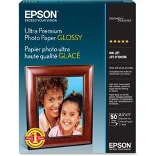 "Epson Ultra Premium Inkjet Photo Paper - Bright White - Letter - 8 1/2"" x 11"" - Glossy - 50 / Pack"