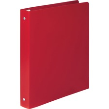 "Acco ACCOHIDE Round Ring Binder - 1/2"" Binder Capacity - Letter - 8 1/2"" x 11"" Sheet Size - 100 Sheet Capacity - 3 x Round Ring Fastener(s) - 23 pt. Binder Thickness - Poly - Red - 1 Each"