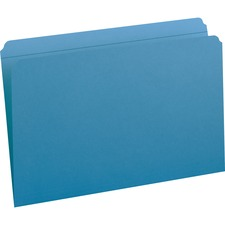 "Smead File Folders with Reinforced Tab - Legal - 8 1/2"" x 14"" Sheet Size - 3/4"" Expansion - Straight Tab Cut - 11 pt. Folder Thickness - Blue - 1.39 oz - Recycled - 100 / Box"