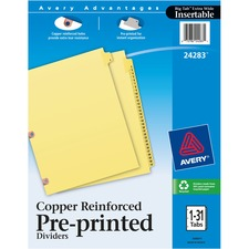 AVE 24283 Avery 1-31 Tab Copper Reinforced Printed Dividers AVE24283