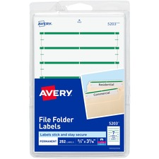 AVE 05203 Avery Permanent 1/3 Cut File Folder Labels AVE05203
