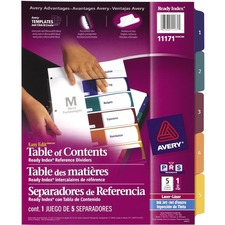 Avery® Easy Edit Index Divider - 5 Tab(s) - 1 Tab(s)/Set - Multicolor Tab(s) - 1 Set