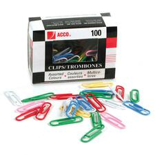 "Acco Vinyl Coated Colour Paper Clip - #1, Standard - Standard - No. 1 - 1.18"" (29.97 mm) Length - 100 / Box - Assorted - Vinyl"