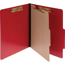 ACC15649 - ACCO® ColorLife® PRESSTEX® 4-Part Classification Folders, Letter, Red, Box of 10
