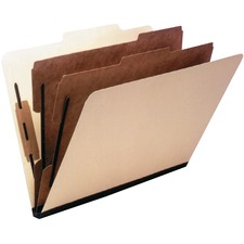 """Esselte 2/5 Tab Cut Letter Recycled Classification Folder - 8 1/2"""" x 11"""" - 6 Fastener(s) - 1"""" Fastener Capacity for Folder, 1"""" Fastener Capacity for Divider - Right Tab Position - 2 Divider(s) - Manila - 15 / Box"""
