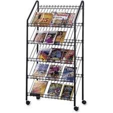 "Safco Mobile Literature Display Rack - 63.6"" Height x 32"" Width x 15.5"" Depth - Floor - Black - Steel - 1Each"