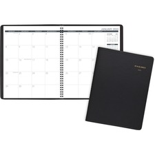 "At-A-Glance Monthly Professional Planner - Monthly - January 2019 till March 2020 - 1 Month Double Page Layout - 9"" x 11"" - Wire Bound - White, Black - Leather, Paper - Black - Phone Directory, Reference Calendar, Address Directory, Appointment Schedule"