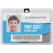 AVT 75456 Advantus Vinyl Horizontal Clip Badge Holder AVT75456