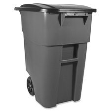 """Rubbermaid Commercial Brute Rollout Container with Lid - 189.27 L Capacity - Square - 36.2"""" Height x 23.4"""" Width x 28.5"""" Depth - Gray - 1 Each"""