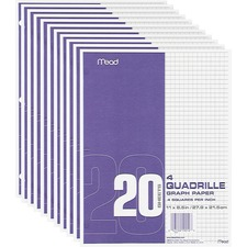 MEA 19010 Mead Quad Ruled 3-Hole Graph Paper MEA19010