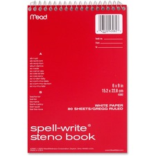 MEA 43082 Mead Spell-Write Gregg Rule Steno Book MEA43082