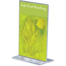 """Deflecto Stand-Up Sign Holder - 6"""" (152.40 mm) x 4"""" (101.60 mm) x - Plastic - 1 Each - Clear"""