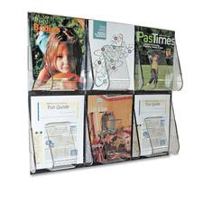 "Deflecto Magazine Wall Rack - 6 x Magazine - 6 Pocket(s) - 23.5"" Height x 27.4"" Width x 2.9"" Depth - Wall Mountable - Clear - Plastic - 1Each"