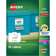 AVE 6572 Avery Laser Inkjet Printer Permanent ID Labels AVE6572