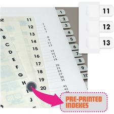 RTG 31002 Redi-Tag Preprinted 11-20 Numbered Index Tabs RTG31002