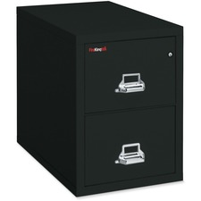 """FireKing Insulated Two-Drawer Vertical File - 20.8"""" x 25"""" x 27.8"""" - 2 x Drawer(s) for File - Legal - Vertical - Pick Resistant Lock, Drill Resistant, Fire Proof, Scratch Resistant - Black - Chrome - Steel"""