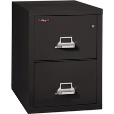 "FireKing Insulated Two-Drawer Vertical File - 20.8"" x 31.5"" x 27.8"" - 2 x Drawer(s) for File - Legal - Vertical - Drill Resistant, Pick Resistant Lock, Fire Proof, Water Resistant, Scratch Resistant - Black - Chrome - Steel"