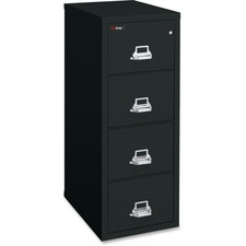 "FireKing Insulated Four-Drawer Vertical File - 20.8"" x 25"" x 52.8"" - 4 x Drawer(s) for File - Legal - Vertical - Drill Resistant, Pick Resistant Lock, Fire Proof, Water Resistant, Scratch Resistant - Black - Chrome - Steel"