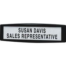 "Fellowes Partition Additionsâ""¢ Name Plate - 1 Each - 9"" (228.60 mm) Width x 2.50"" (63.50 mm) Height - Rectangular Shape - Tackable, Replaceable, Recyclable, Repositionable - Plastic, Steel - Dark Graphite"