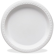 TBL TM10644WH Tablemate Round Disposable Plastic Plates TBLTM10644WH