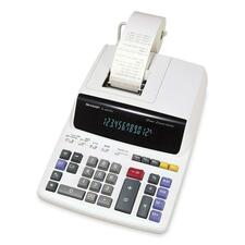 "Sharp Calculators EL2607RIII Desktop Calculator - Dual Color Print - 3.5 lps - Easy-to-read Display - 12 Digits - Fluorescent - AC Supply Powered - 0.3"" x 8.7"" x 12.9"" - White - 1 Each"