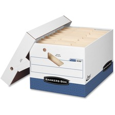 """Bankers Box Presto File Storage Box - Internal Dimensions: 12"""" (304.80 mm) Width x 15"""" (381 mm) Depth x 10"""" (254 mm) Height - External Dimensions: 12.9"""" Width x 16.5"""" Depth x 10.4"""" Height - 850 lb - Media Size Supported: Legal, Letter - Lift-off, Zipper Closure - Heavy Duty - Stackable - White, Blue - For Document - Recycled - 12 / Carton"""