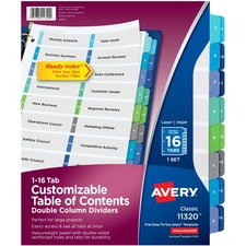 AVE11320 - Avery® Ready Index Customizable Table of Contents Double Column Dividers