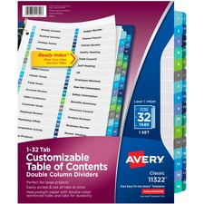 AVE11322 - Avery&reg Ready Index Customizable Table of Contents Double Column Dividers