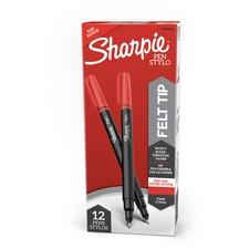 Sharpie Fine Point Pen - Fine Pen Point - Red - Silver Barrel - 1 Each