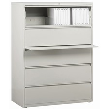 """Lorell Lateral File - 5-Drawer - 42"""" x 18.6"""" x 67.7"""" - 5 x Drawer(s) for File - Legal, Letter, A4 - Lateral - Rust Proof, Leveling Glide, Interlocking, Ball-bearing Suspension, Label Holder - Light Gray - Steel - Recycled"""