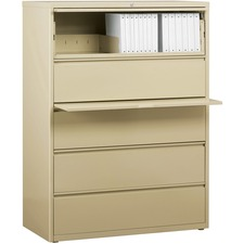 """Lorell Lateral File - 5-Drawer - 42"""" x 18.6"""" x 67.7"""" - 5 x Drawer(s) for File - Legal, Letter, A4 - Lateral - Rust Proof, Leveling Glide, Interlocking, Ball-bearing Suspension, Label Holder - Putty - Recycled"""